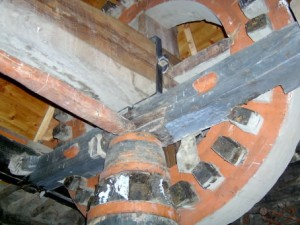 17 - the mechanism used to turn the grinding stone